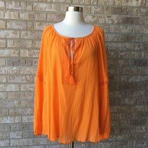 NWT Lane Bryant Tassel Crinkle Orange Top 14 16